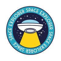 ruimtebadge met ufo vliegen en ruimte ontdekkingsreiziger belettering lijn en vulstijl