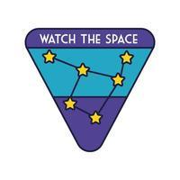 ruimtebadge met sterrenbeeldlijn en vulstijl