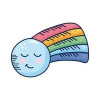 kawaii regenboog met maan komisch karakter