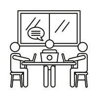 drie werknemers met laptops en tekstballon lijn stijlicoon