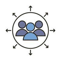 teamwerkmensen met pijlen rond lijn en opvulstijlpictogram