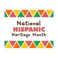 nationaal hispanic erfgoed belettering in frame platte stijlicoon