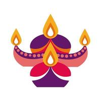 diwali kaarsen in decoratieve ketel platte stijlicoon