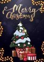 vrolijk kerstfeest, verticale blauwe ansichtkaart met gouden letters en kerstboom in een pot met geschenken