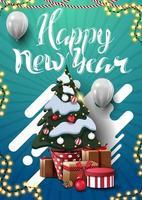 gelukkig nieuwjaar, blauwe verticale wenskaart voor uw creativiteit met kerstboom in een pot met geschenken en witte ballonnen