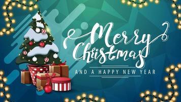 prettige kerstdagen en gelukkig nieuwjaar, groene ansichtkaart met slinger, abstracte vorm, veelhoekige textuur en kerstboom in een pot met geschenken