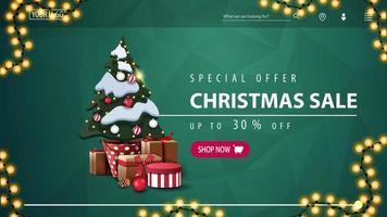 speciale aanbieding, kerstuitverkoop, tot 30 korting, groene kortingsbanner voor website met veelhoekige textuur, slinger, roze knop en kerstboom in een pot met geschenken