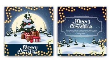 Kerst vierkante dubbelzijdige ansichtkaart met cartoon winterlandschap, grote gele maan en kerstboom in een pot met geschenken