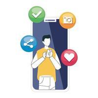 man en smartphone met social media iconen, concept van online communicatie op witte achtergrond