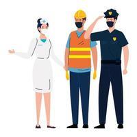werknemers die gezichtsmasker gebruiken tijdens covid 19 op witte achtergrond