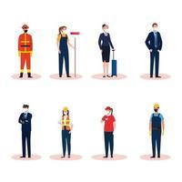 mensen werknemers met uniformen en maskers vector ontwerp