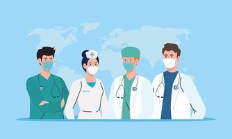 vrouwelijke en mannelijke verpleegster en artsen met uniformen en maskers vector ontwerp