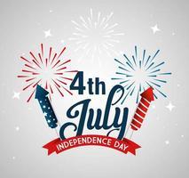 VS vuurwerk met lint van onafhankelijkheidsdag vector ontwerp