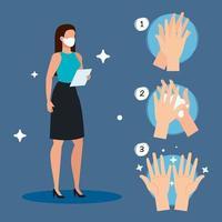 zakenvrouw en handen wassen stappen vector design