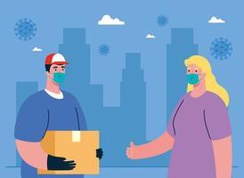 levering man en vrouw klant met masker en doos vector ontwerp