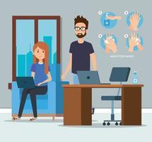 ondernemers op kantoor en handen sanitizer vector design