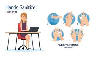 zakenvrouw op bureau en handen ontsmettingsmiddel vector ontwerp