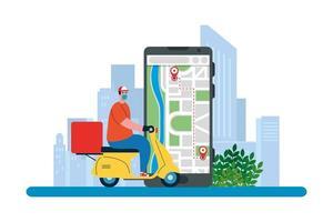 bezorger met masker motorfiets doos en smartphone vector ontwerp