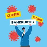 zakenman met masker en banner van nauwe faillissement vector design