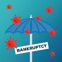 paraplu met banner van faillissement vector ontwerp