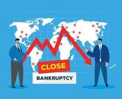 zakenlieden met maskers en kaart van faillissement vector ontwerp