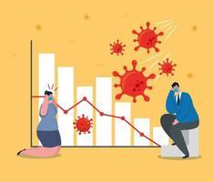 ondernemers met maskers en staafdiagram van faillissement vector design