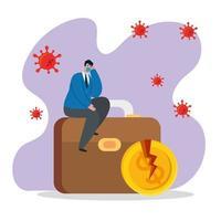 zakenman met masker gebroken munt en koffer van faillissement vector ontwerp