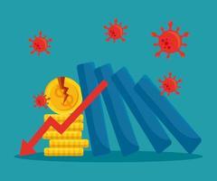 gebroken munten en afname pijl van faillissement vector ontwerp