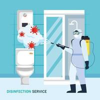 man met beschermend pak sproeien badkamer met covid 19 vector ontwerp