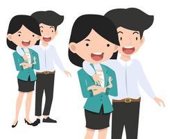 gelukkige paar zakenman en zakenvrouw