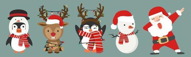 schattige stripfiguren kerstset vector