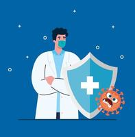 arts met medisch masker en schild met cartoon vectorontwerp vector
