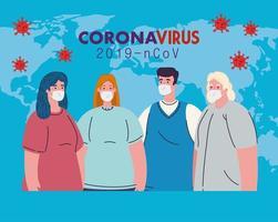 vrouwen en mannen met medische maskers en vectorontwerp van de wereldkaart