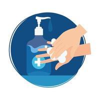 handen wassen met ontsmettingsmiddel fles vector ontwerp