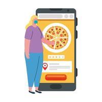 vrouwencliënt met masker en smartphone met pizza vectorontwerp