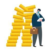 zakenman met masker en munten van faillissement vector ontwerp