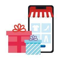 smartphone met tent en geschenken vector ontwerp
