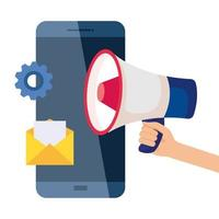 smartphone megafoon envelop en versnelling vector ontwerp