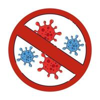covid 19-virus met verbod vectorontwerp vector