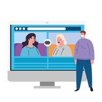 mensen praten met elkaar op het computerscherm, videovergadering