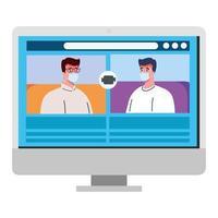 mannen praten met elkaar op het computerscherm, videovergadering, preventie coronavirus covid 19