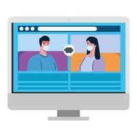 stel praat met elkaar op het computerscherm, videovergadering, preventie coronavirus covid 19