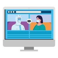 mensen praten met elkaar op het computerscherm, videovergadering, preventie coronavirus covid 19