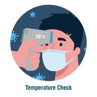 Covid 19 coronavirus, hand met infrarood thermometer om de lichaamstemperatuur te meten, man temperatuur te controleren vector