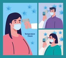 persoon met desinfectiepak, met digitale contactloze infraroodthermometer, scènes instellen vector