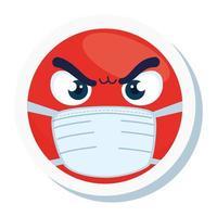 emoji boos met medisch masker, rood gezicht met wit chirurgisch maskerpictogram vector