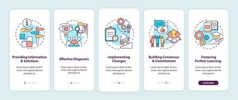 bedrijfsadviesstadia onboarding mobiele app-paginascherm met concepten