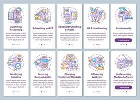 topbedrijfsadviesdienst onboarding mobiele app-paginascherm met ingestelde concepten