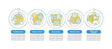 speelgoed voor vroege ontwikkeling van het kind vector infographic sjabloon