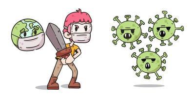 jongen die de aarde beschermt tegen covid-19 coronavirus illustratie vector